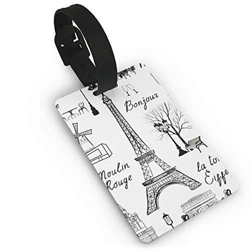 Tour Eiffel France - Etichette per valigia, biglietti da visita, biglietti da visita e carte d'identità, bianco (Nero) - Lg87pfb-24979147