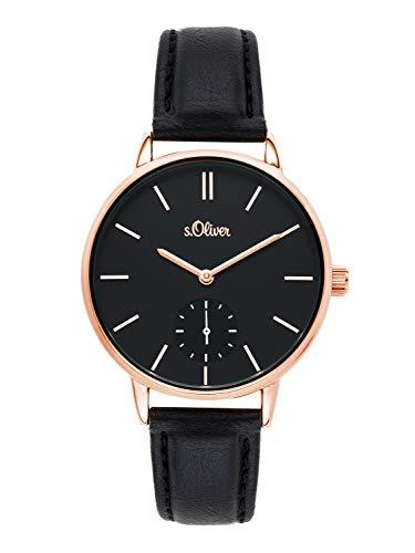 s.Oliver Time Damen Analog Quarz Uhr mit PU Armband SO-3586-LQ