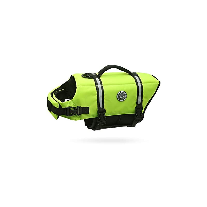 dog supplies online vivaglory dog life jacket, ripstop & reflective dog life preserver with enhanced buoyancy & rescue handle, bright yellow, l
