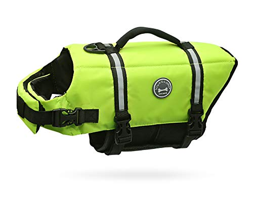 Vivaglory Dog Life Jacket, Ripstop & Reflective Dog Life Preserver with Enhanced Buoyancy & Rescue Handle, Bright Yellow, S