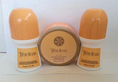 Avon TIMELESS Perfumed ~ SKIN SOFTENER & DEODORANT ~ Cream Antiperspirant Roll On Combo (3 Pack).. Astop