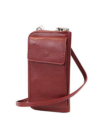 irisaa kleine Damen Leder Umhängetasche Schultertasche - Echtleder Crossbody Handtasche Geldbörse Handy Mini-Tasche Brieftasche mit Verstellbarem Schultergurt, Multifunktion, Damen Tasche:Wine Rot