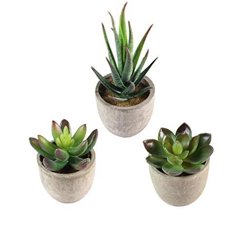 BESTonZON 3 Pezzi Succulente Artificiali Pianta Artificiale Vaso Piante Finte vasi Piante Fiori Artificiali da Interno Esterno Decorazioni per Soggiorno