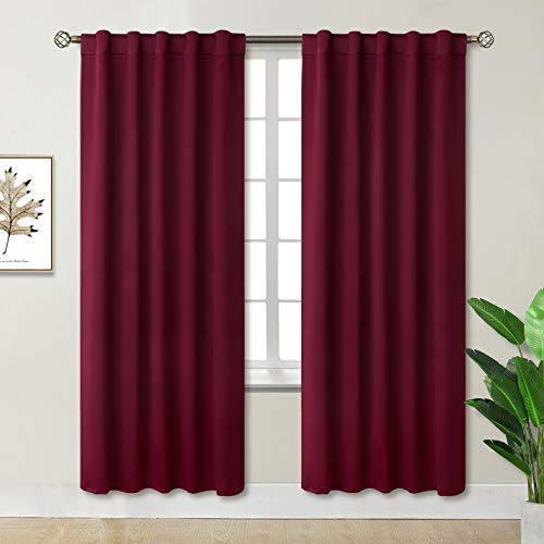 BGment Rod Pocket and Back Tab Blackout Curtains for Bedroom - Thermal Insulated Room Darkening Curtains for Living Room , 2 Window Curtain Panels ( 42 x 84 Inch, Burgundy Red )