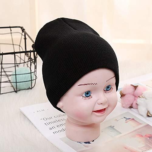 WABBMZ Winter hoed Effen Beanies Hoed Voor Kinderen Baby Meisjes Jongens Herfst Winter Caps Warm Zachte Snoep Gebreide Bonnet Hoeden Peuter Kinderen Cap Zwarte Cap