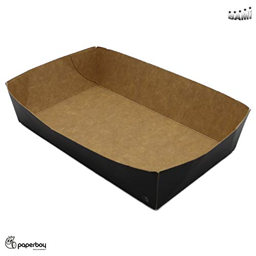BAMI 100 Stück Snackschale Pommesschale Pappschale Papier Schale Fingerfood Einwegschale, N4- (100x170x42mm) -Schwarz-