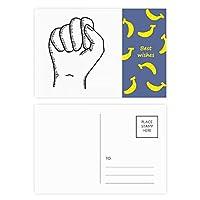 食いしばったジェスチャー線描画パターン バナナのポストカードセットサンクスカード郵送側20個