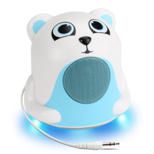 GOgroove Altoparlante Musicale Portatile con Design Animale (Orso Polare) e Luce Notturna a LED Blu per Bambini, Bimbi, Neonati – Funziona con cellulari, Tablet, Lettori MP3   MP4 e Altro!