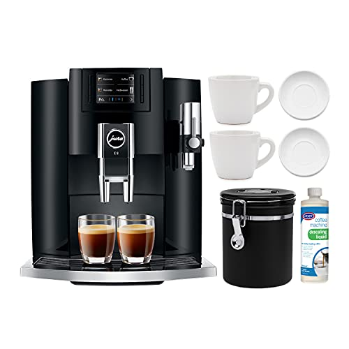Jura E8 Smart Espresso Coffee Machine (Piano Black) with Descaling Liquid, 2 Cup and Saucer Sets and Coffee Canister Bundle (5 Items)
