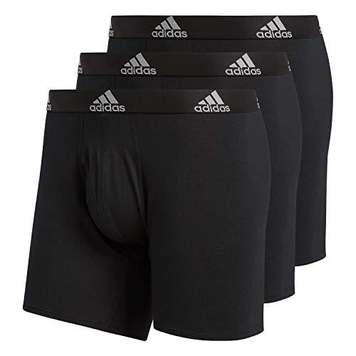 adidas Herren Boxershorts aus Stretch-Baumwolle, 3er-Pack, Schwarz/Schwarz/Schwarz/Schwarz, Größe L