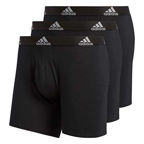 adidas Herren Men's Stretch Cotton Boxer Brief (3-Pack) Unterwäsche, Black/Black Black/Black Black/Black, Large