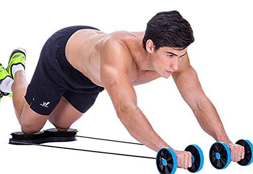 WJSWHW Bauch-Roller mit Zugseil, 6 in 1, Muskeltraining mit drehbarer Taille, rutschfest, 5 Arten von einstellbarem Widerstand, Blau für Männer und Frauen
