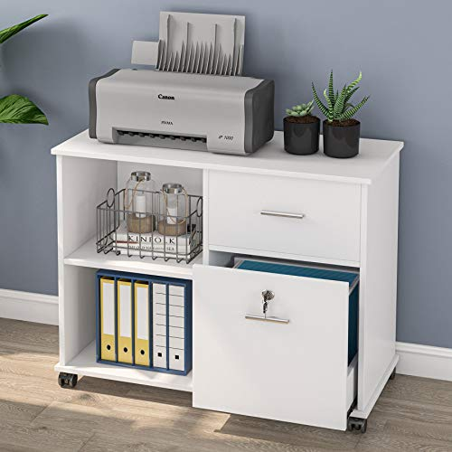 Tribesigns 2 Drawer File Cabinet With Lock, Mobile Lateral Filing Cabinet For Letter Size, Printer Stand With Rolling Wheel And Open Storage Shelves For Home Office, White