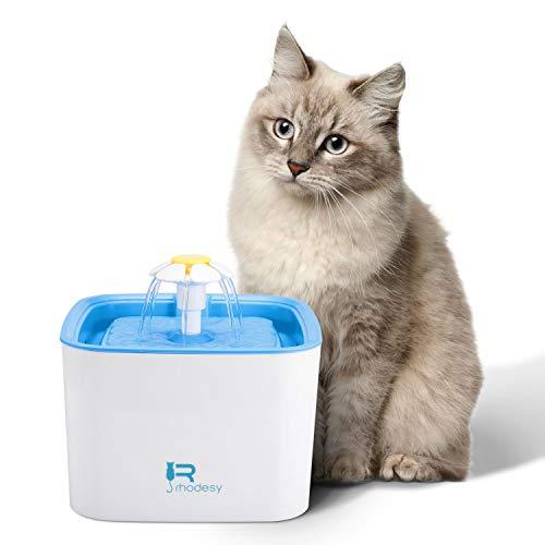 Rhodesy Trinkbrunnen für Katzen und Hunde, Blumentrinkbrunnen Haustier Wasserspender Brunnen Automatisch Gesund Ultra Silent 2.5L, mit 1 Ersatzfilter und Leise Pumpe