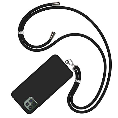 """LYZXMY Case for Hafury GT20 (6.4"""") Black Silicone Soft TPU Cover Flexible Shell + Adjustable Necklace Choker Chain Cord Lanyard, Housing with Lanyard Black"""