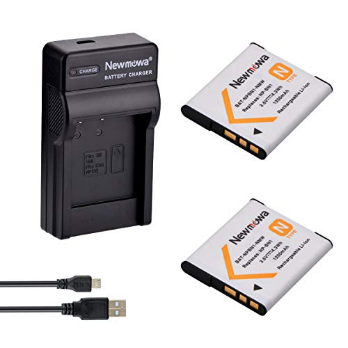 Newmowa NP-BN1 Batería (2-Pack) y Kit Cargador Micro USB portátil para Sony NP-BN1, Cyber-Shot DSC-QX10, DSC-QX30, DSC-QX100, DSC-T99, DSC-TF1, DSC-TX5, DSC-TX7, DSC-TX9