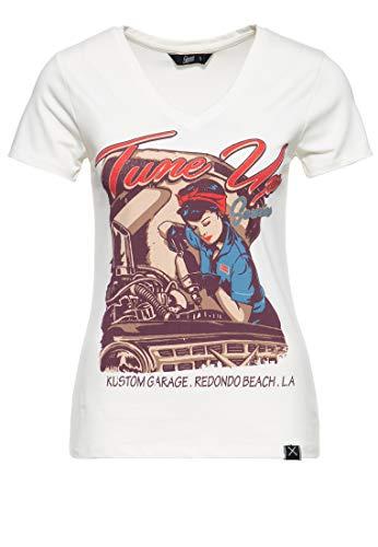 Queen Kerosin Damen Kurzarm T-Shirt V Ausschnitt Tune Up Print Slim Fit Tune Up