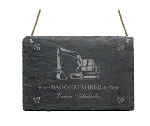Schiefertafel « BESTER BAGGERFAHRER DER WELT » Schild mit persönlichem Namen & Motiv Bagger - Größe ca. 22 x 16 cm - Türschild Bau Radlader Bauarbeiter