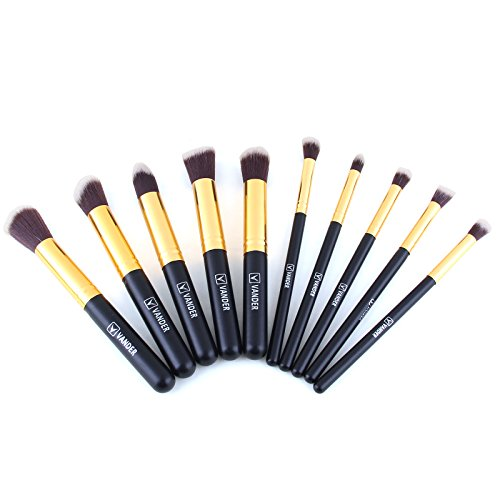 Vander 10 Pcs Makeup Brushes Premium Makeup Brush Set Foundation Brush Eyeliner Blush Contour Brushes Eye Shadow Brush for Powder Cream Concealer Brush Kit