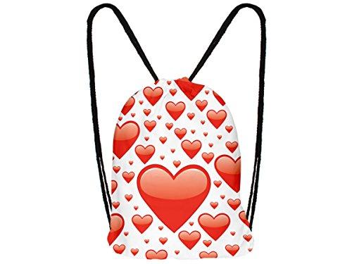 Alsino Turnbeutel Hipster Gymbag Rucksack, Variante wählen:RU-187 weiß Herzen