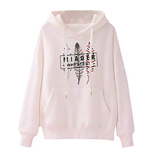 MRULIC Hoodies Frauen Sweatshirt für Damen Sportlicher Pullover Herbst und Winter Kapuzenpullover Multichoice Style Pullover mit Tasche(2-Weiß,M)