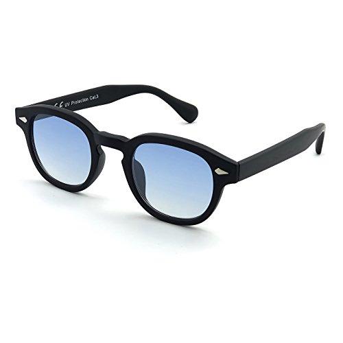 KISS Occhiali da sole stile MOSCOT mod. DEPP ICONIC - Johnny Depp uomo donna VINTAGE unisex - NERO/Soft Blue