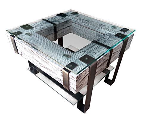 CHYRKA® Couchtisch LEMBERG Wohnzimmertisch Massivholz Glastisch Holz Glas Loft Handmade Vintage Deco (LEMBERG-Weiss, 60x60 cm H=50 cm)