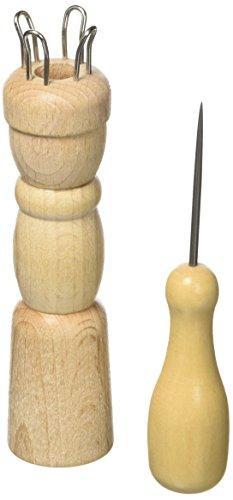 Efco 4-Nails 2-Parts Non traité à Tricoter Nancy, Marron, 24 x 93 mm, 10 mm de diamètre du Trou