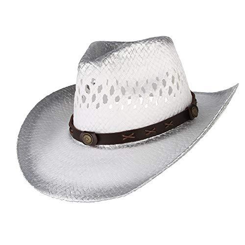 XYAL0003001 Xingyue Aile Hoeden & Caps 2020 Mannen Vrouwen Wit Western Cowboy Hoed, Punk Riem Rietgat Hollow Out Hoed, Brede Brim Hoed Maat 56-58CM