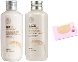 The Face Shop Rice & Ceramide Moisture SET + SoltreeBundle Natural Hemp Paper 50pcs (1. Toner + Emulsion)