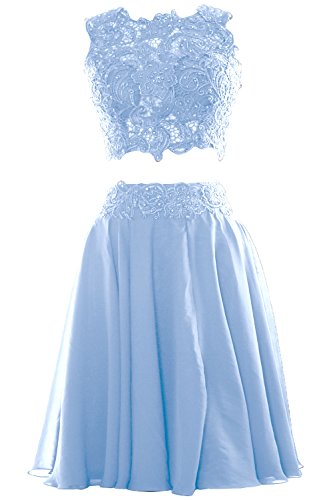 MACloth Women Two Piece Lace Chiffon Short Prom Dress Cocktail Party Formal Gown (46, Sky Blue)