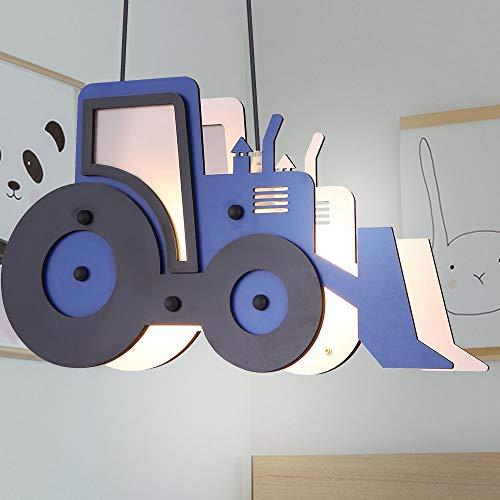 Decken Pendel KInder Lampe Traktor Trecker Spiel Zimmer Jungen Hänge Lampe blau schwarz