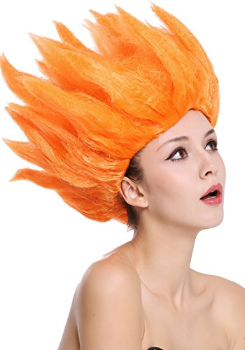 WIG ME UP- 91062-PC24 Peluca Hombres Mujeres Carnaval Halloween Cosplay Loki Flor tulipn Fuego Demonio Diablo Naranja