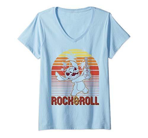 Femme Disney Lilo & Stitch Rock & Roll Stitch Sunset T-Shirt avec Col en V