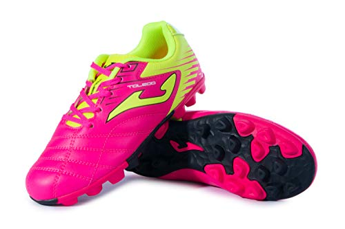 Joma Kids' Toledo JR MD 24 Soccer Shoes (9 Toddler, Neon Pink/Neon Yellow/Black)