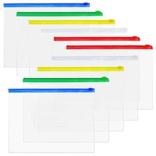 baotongle 50 PCS Clear Color Zip up PVC A5 Paper Document File Bill Zipper Bag Pencil Pouch