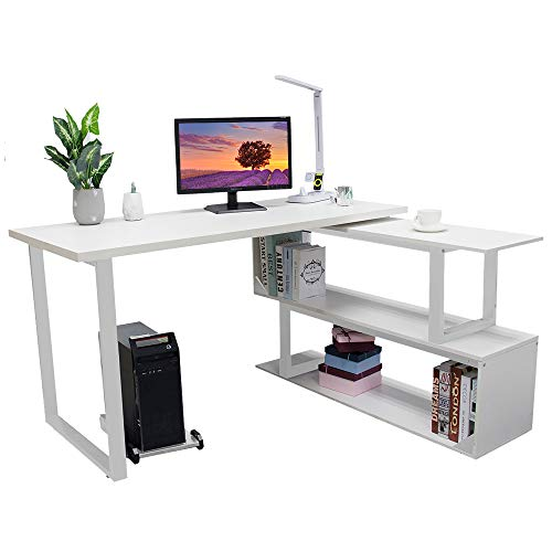 Bizzoelife L-Shaped Computer Desk, 55 Inch 360° Rotating Corner Desk with 2 Storage Shelves, Specialties Sturdy Left or Right Facing Combo Table for Home Office, Write Desk Double Workstation (White)