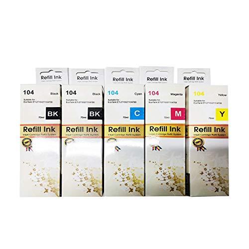 Tinta 104 Ecotank compatible con Epson ET-2710 ET-2711 ET-2712 ET-2714 ET-2715 ET-2720 ET-2721 ET-2726 ET-4700 (Pack X1 + 1 Negro)