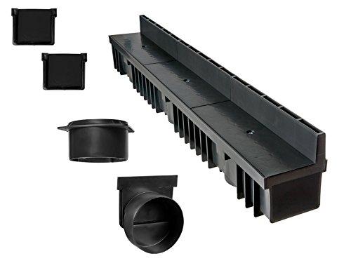 'S'lon Schlitzrinne Set 7 Meter | Kunststoff schwarz Klasse B125 | Typ 70 (Entwässerungsrinnen)