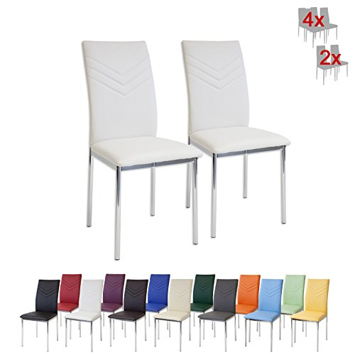 Albatros 2922 Verona Set de 2 sillas de Comedor, Blanco, pie de Cromo, SGS Tested