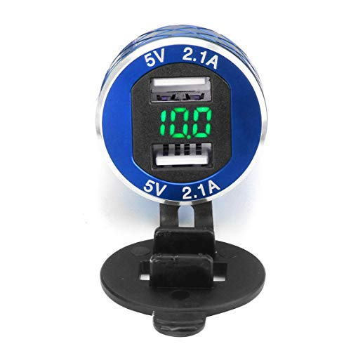 C-Funn 12 V-24 V 4,2 A voltmeter groen motorfiets dual USB lader DIN stekker voor BMW motorfiets Lichtblauw.