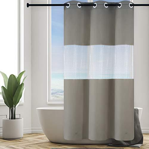 Furlinic Duschvorhang Überlänge aus PEVA Badvorhang mit 3D Fenster Anti-schimmel für Kleine Badewanne und Dusche Schmaler Vorhang Wasserdicht Waschbar mit Magnet Weiß 120x210cm mit Groß Ösen.