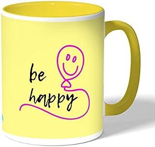 Be happy Coffee Mug by Decalac, Yellow - 19071