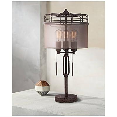Lock Arbor Industrial Table Lamp Rustic Bronze Metal Cage Sheer Drum Shade Vintage Antique Edison Bulbs for Living Room Bedroom - Franklin Iron Works
