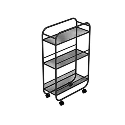 Storage Rack Wheeled Movable Shelves Floor Storage Shelf Side Narrow Trolleys Bedroom Bookshelf Living Room Dining Floor Storage Shelf Shelving (Color : Black)