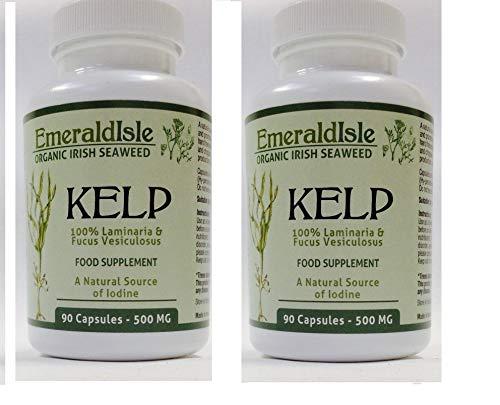 Kelp Seaweed Tablets 500 mg 180 Capsules Certified Organic Harvested in North Atlantic Coast of Ireland