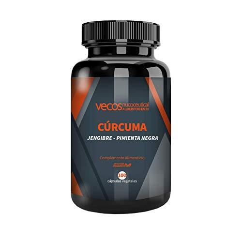 Cúrcuma (1.100 mg) con jengibre (200mg) y pimienta negra (10 mg) Vecos – Suplemento antioxidante para el cuidado del organismo y de las articulaciones – 100 cápsulas vegetales – 100% apto para veganos