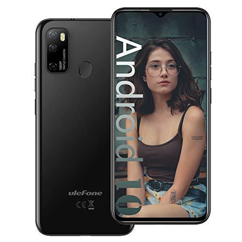 Ulefone NOTE 9P (2020), Android 10 Smartphone Offerta, 6,52  Cellulare 16MP Quad Camera, Octa-Core 4GB + 64GB, 3 slot Per Schede, Dual SIM, Batteria 4500mAh OTG, Sblocco Impronta Digitale GPS Nero