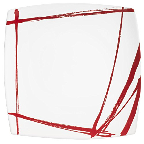 TABLE PASSION - PLAT CARRE ROUGE 31 CM PORCELAINE DECOR EXPRESSION