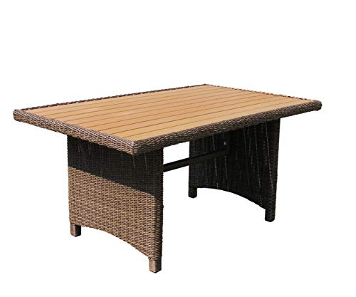 Rotan tafel Ibiza 150x90 cm polystyreen massief plaat polyrotan tuintafel
